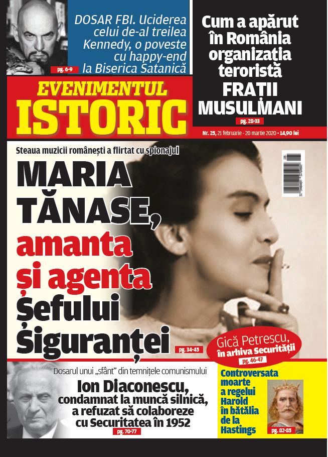 Maria Tănase și serviciile secrete. Gestul eroic al țărănistului Ion DIaconescu și informații FBI despre Biserica Satanistă. Dezvăluiri marca Evenimentul Istoric