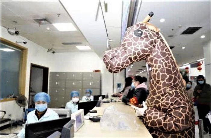 Metodă anticoronavirus bizară. Costum de girafă în locul măștii de protecție