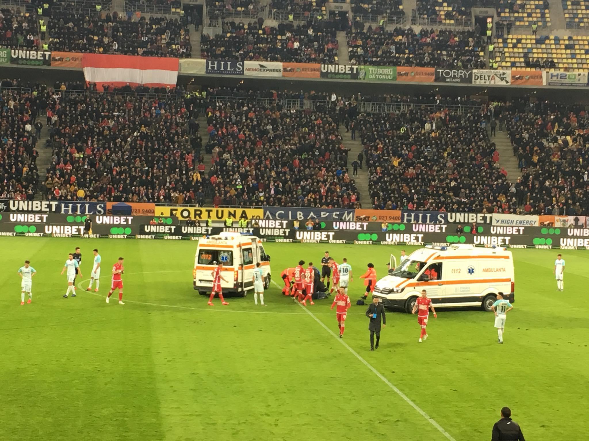 BREAKING NEWS. Alertă pe Arena Națională! Jucător de la Dinamo, luat cu Ambulanța!